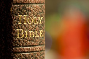 Closeup shot of the holy bible in gold letters on a leather boun